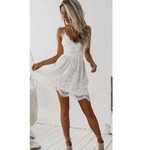 Cute white lace spaghetti strap dress